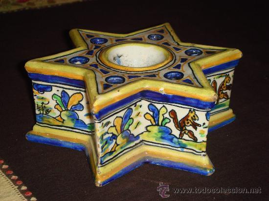CERÁMICA DE TALAVERA. TINTERO CON REPOSAPLUMAS. SIGLO XVIII. (Antigüedades - Porcelanas y Cerámicas - Talavera)