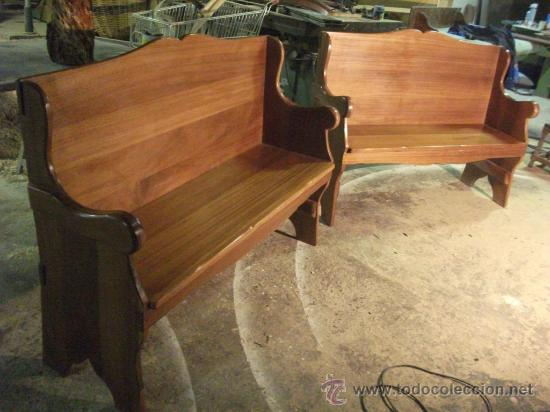 Pareja de esca os o bancos de madera de iroko p comprar for Sillas de jardin segunda mano