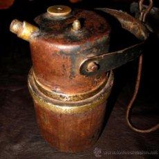 Antigüedades: LAMPARA DE CARBURO ANTIGUA. HIERRO CON ELEMENTOS DE BRONCE. Lote 35540427