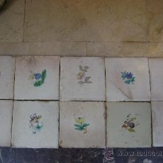 Antigüedades: LOTE DE DIEZ AZULEJOS DE FLORES SIGLO XIX.VALENCIA. Lote 35543058