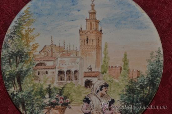 PRECIOSO PLATO PINTADO A MANO EN CERAMICA DE TRIANA,(SEVILLA),S.XIX (Antigüedades - Porcelanas y Cerámicas - Triana)
