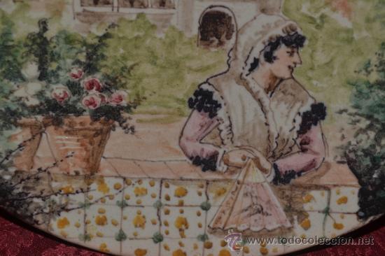 Antigüedades: PRECIOSO PLATO PINTADO A MANO EN CERAMICA DE TRIANA,(SEVILLA),S.XIX - Foto 3 - 35559531