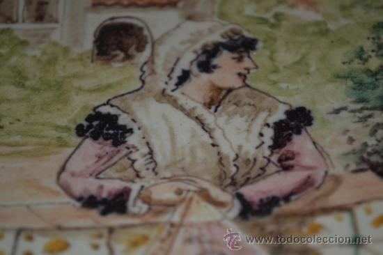 Antigüedades: PRECIOSO PLATO PINTADO A MANO EN CERAMICA DE TRIANA,(SEVILLA),S.XIX - Foto 8 - 35559531