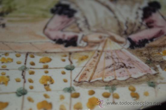Antigüedades: PRECIOSO PLATO PINTADO A MANO EN CERAMICA DE TRIANA,(SEVILLA),S.XIX - Foto 9 - 35559531
