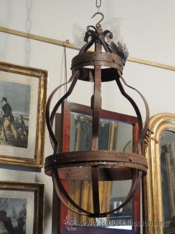 Antigüedades: LAMPARA DE HIERRO EN TONO OXIDO MUY BONITA - Foto 4 - 109890002