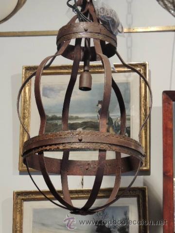 Antigüedades: LAMPARA DE HIERRO EN TONO OXIDO MUY BONITA - Foto 5 - 109890002