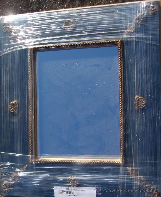 ESPEJO ARTESANO 48 X 33 CM. (Antigüedades - Muebles Antiguos - Espejos Antiguos)