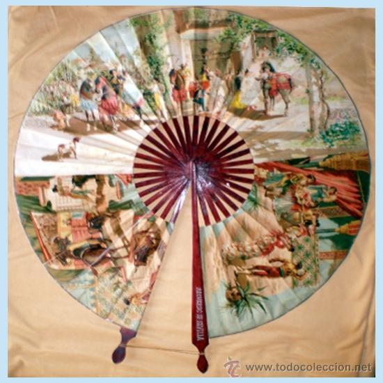 Antigüedades: GRAN ABANICO FINALES S. XIX, TIPO COCARDA CIRCULAR. DECORADO CON -RECUERDO DE SEVILLA- TAUROMAQUIA - Foto 2 - 35591700