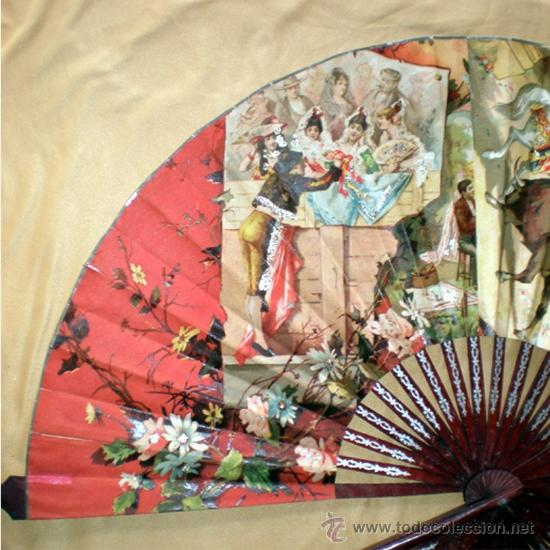 Antigüedades: GRAN ABANICO FINALES S. XIX, TIPO COCARDA CIRCULAR. DECORADO CON -RECUERDO DE SEVILLA- TAUROMAQUIA - Foto 3 - 35591700