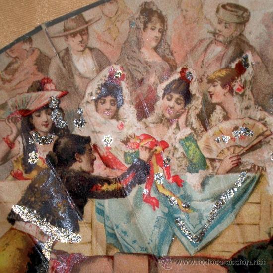 Antigüedades: GRAN ABANICO FINALES S. XIX, TIPO COCARDA CIRCULAR. DECORADO CON -RECUERDO DE SEVILLA- TAUROMAQUIA - Foto 4 - 35591700