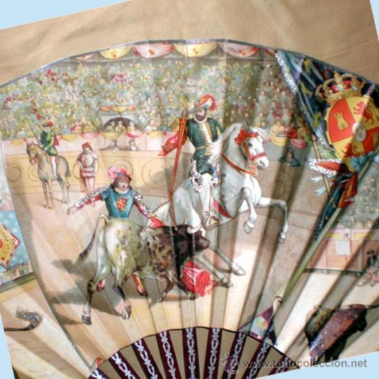 Antigüedades: GRAN ABANICO FINALES S. XIX, TIPO COCARDA CIRCULAR. DECORADO CON -RECUERDO DE SEVILLA- TAUROMAQUIA - Foto 6 - 35591700