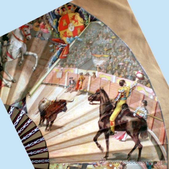 Antigüedades: GRAN ABANICO FINALES S. XIX, TIPO COCARDA CIRCULAR. DECORADO CON -RECUERDO DE SEVILLA- TAUROMAQUIA - Foto 7 - 35591700