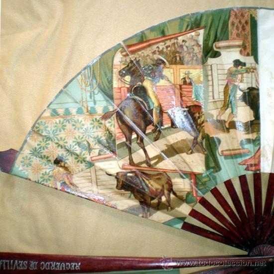 Antigüedades: GRAN ABANICO FINALES S. XIX, TIPO COCARDA CIRCULAR. DECORADO CON -RECUERDO DE SEVILLA- TAUROMAQUIA - Foto 9 - 35591700