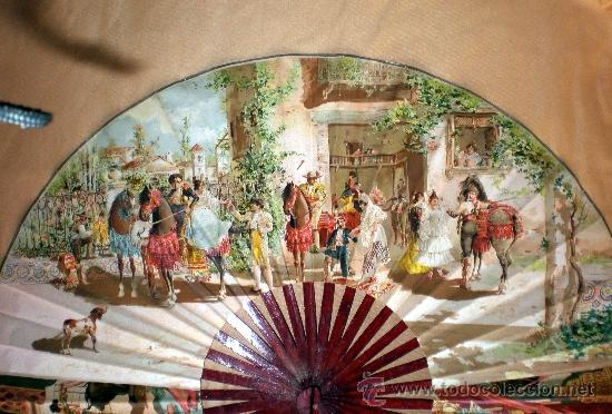 Antigüedades: GRAN ABANICO FINALES S. XIX, TIPO COCARDA CIRCULAR. DECORADO CON -RECUERDO DE SEVILLA- TAUROMAQUIA - Foto 10 - 35591700