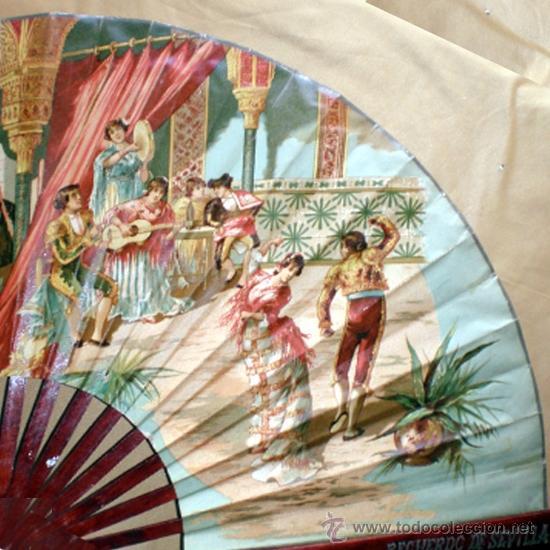 Antigüedades: GRAN ABANICO FINALES S. XIX, TIPO COCARDA CIRCULAR. DECORADO CON -RECUERDO DE SEVILLA- TAUROMAQUIA - Foto 11 - 35591700