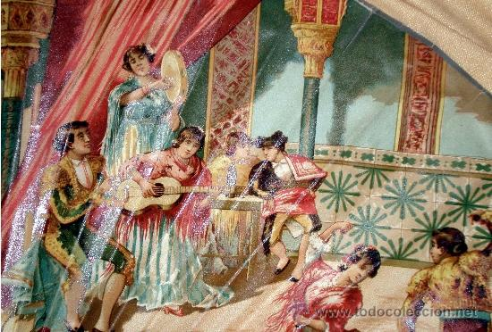 Antigüedades: GRAN ABANICO FINALES S. XIX, TIPO COCARDA CIRCULAR. DECORADO CON -RECUERDO DE SEVILLA- TAUROMAQUIA - Foto 12 - 35591700