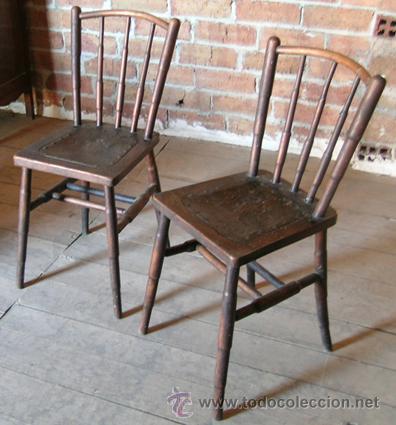 2 sillas antiguas madera asiento piel repujada comprar sillas antiguas en todocoleccion - Sillas de madera antiguas ...