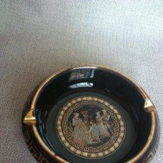 Antigüedades: CENICERO DE CERAMICA ESMALTADA Y DECORADA EN ORO DE 24K ( HECHO A MANO EN GRECIA ). Lote 212549261
