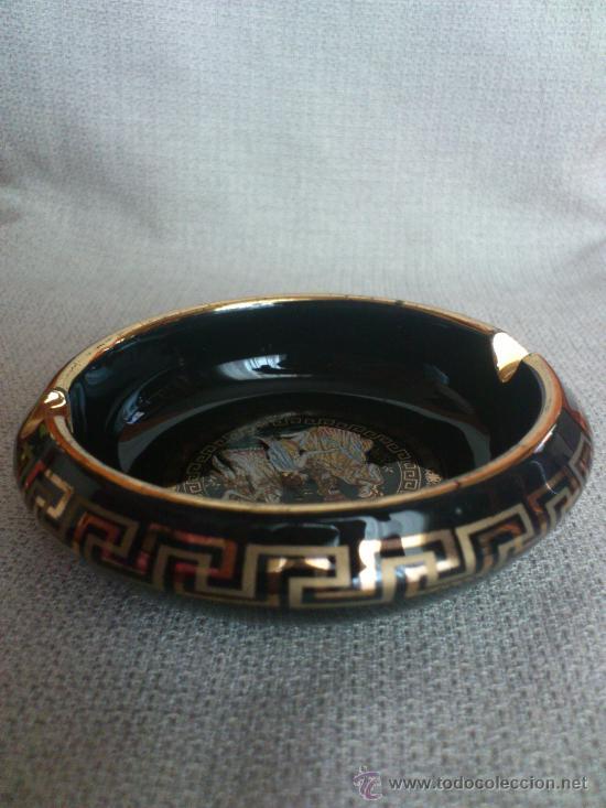 Antigüedades: Cenicero de ceramica esmaltada y decorada en oro de 24k ( Hecho a mano en Grecia ) - Foto 4 - 212549261