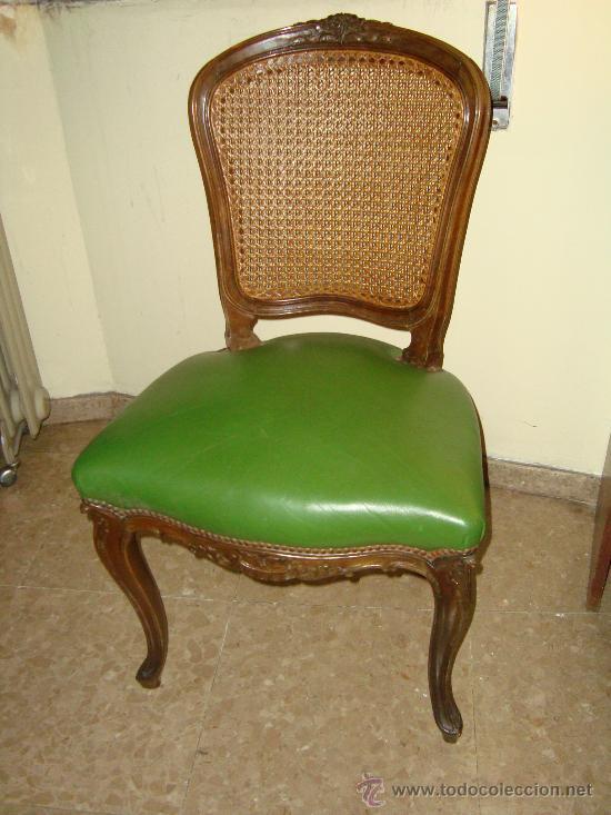 Silla luis xv tapizado piel verde y respaldo re comprar for Tapizar sillas precio