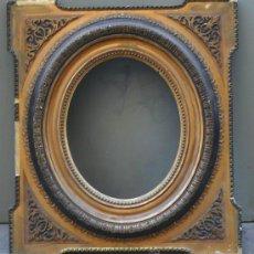 Antigüedades: PEQUEÑO MARCO DORADO INTEIROR OVALADO SIGLO XIX. 42X48 CM MEDIDA EXTERIOR. Lote 35619055