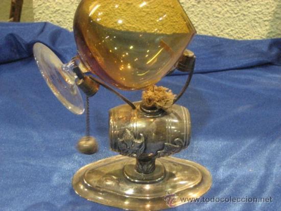CALIENTA COPAS EN ALPACA BLANCA CON FORMA DE TONEL (Antigüedades - Platería - Bañado en Plata Antiguo)