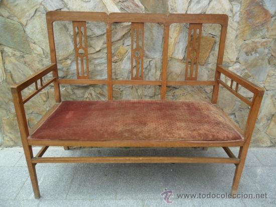 Banco sof modernista en madera de haya ant comprar for Sofas antiguos