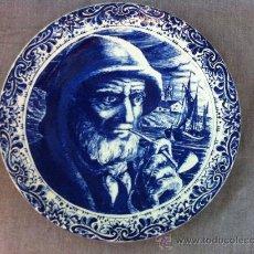 Antigüedades: ANTIGUO PLATO GRANDE PARA COLGAR CON SELLO DE DELFTS MANUFACTURA BOCH. Lote 35659914