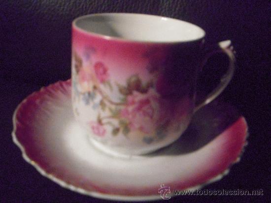 Antigüedades: importante pieza preciosa taza para el bigote con plato - Foto 5 - 35662134