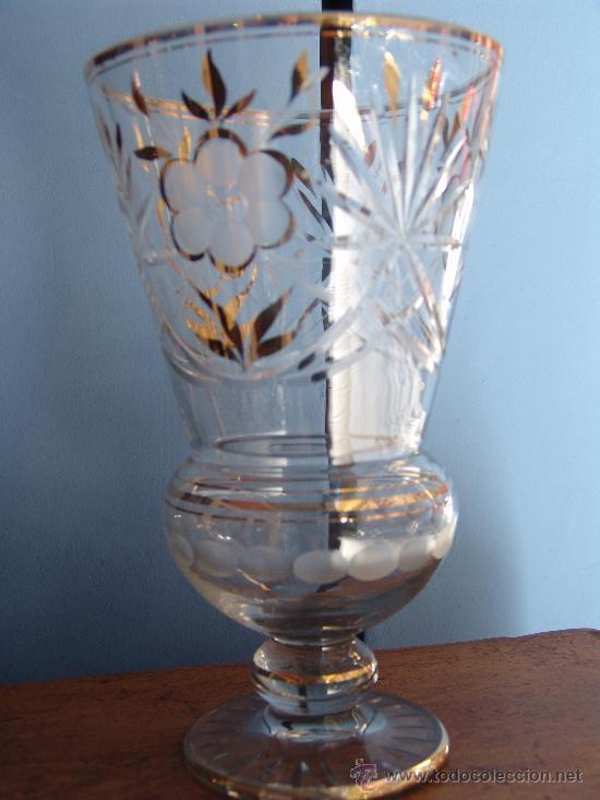 ANTIGUO BÚCARO DE CRISTAL TALLADO (Antigüedades - Cristal y Vidrio - Otros)