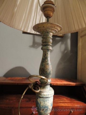 Antigüedades: PRECIOSA LAMPARA TIPO CANDELERO ANTIGUO ESTUCADO - Foto 3 - 35697967