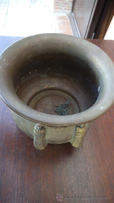 Antigüedades: maceton de metal - Foto 2 - 35683477
