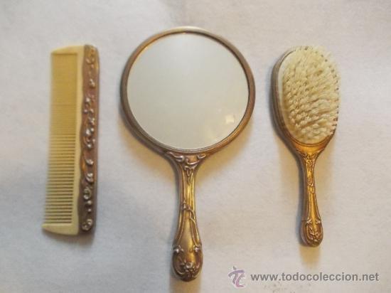 Antiguo y precioso juego de tocador espejo de comprar for Espejo y cepillo antiguo