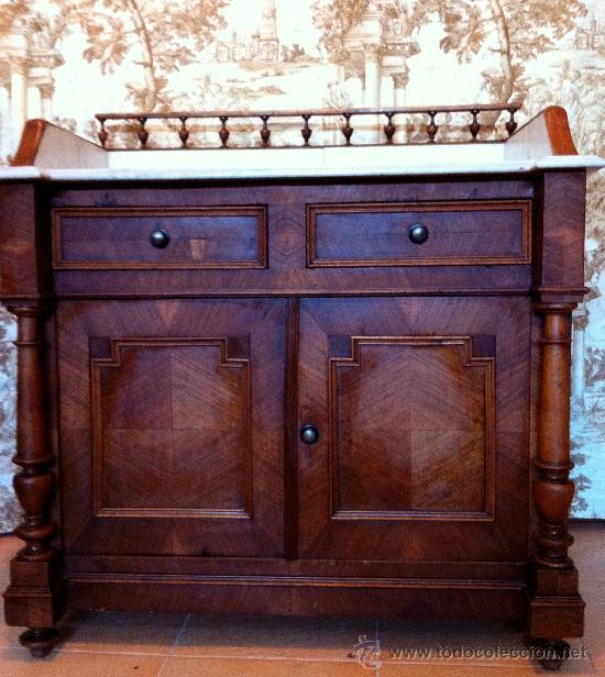 Antigüedades: Mueble tocador de madera noble con mármol circa 1850 - Foto 2 - 35730103