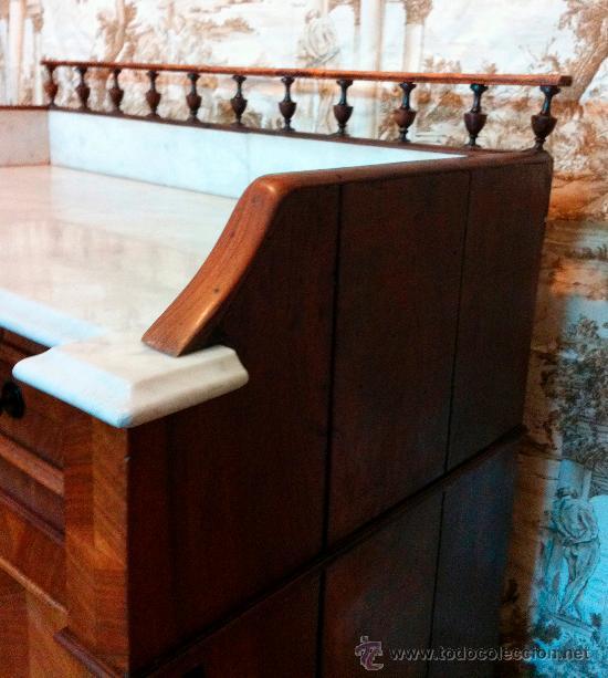 Antigüedades: Mueble tocador de madera noble con mármol circa 1850 - Foto 3 - 35730103