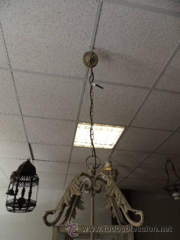 Antigüedades: FAROL METALICO CON ADORNOS DE HOJAS - Foto 3 - 35738959