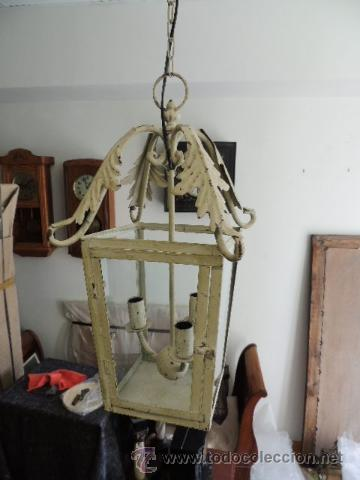 Antigüedades: FAROL METALICO CON ADORNOS DE HOJAS - Foto 6 - 35738959