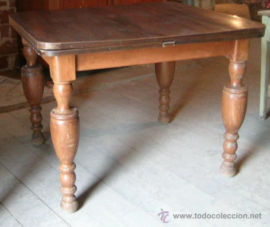 Antigüedades: Mesa madera nogal. Extensible - Foto 3 - 34298589