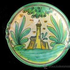 Antigüedades: ALFARERÍA POPULAR PLATO DE CERÁMICA PINTADO A MANO DE PUENTE DEL ARZOBISPO (TOLEDO). Lote 35757994