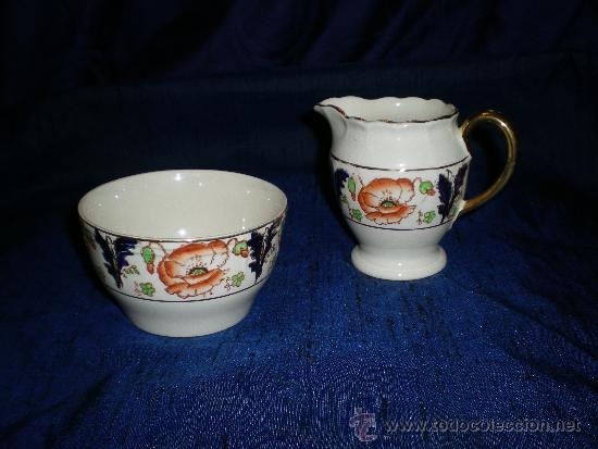 SET DE LECHERA Y AZUCARERO INGLES (Antigüedades - Porcelanas y Cerámicas - Inglesa, Bristol y Otros)