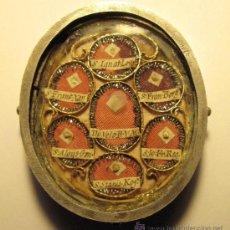 Antigüedades: IMPORTANTE RELICARIO. PLATA. SIGLO XVII. 7 X 6 CM. RELIQUIAS S. IGNACIO DE LOYOLA Y OTROS JESUITAS. Lote 35786129
