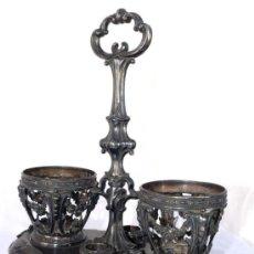 Antigüedades: CONVOY O VINAGRERA ANTIGUA MESA PALACIEGA S.XIX EN PLATA CUÑO CONEJO O LIEBRE SELLO VINTAGE. Lote 35799360