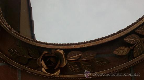 Antigüedades: PRECIOSO ESPEJO OVALADO CON ROSAS DE FORJA.HIERRO DORADO. - Foto 4 - 103047720