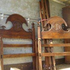 Antigüedades: PAREJA DE CAMAS MADERA DE CASTAÑO 90CM.. Lote 35833969