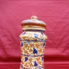 Antigüedades: BOTE / ALBARELO DE CERÁMICA DE REFLEJOS DE MANISES FIRMADA GIMENO RIOS. Lote 35845445