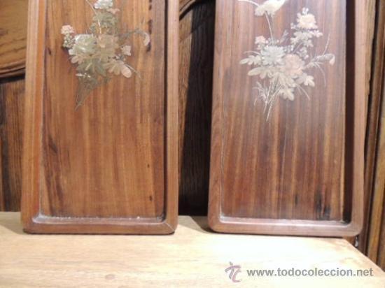 Antigüedades: PAREJA DE BANDEJAS CHINAS DE MADERA CON ADORNOS DE BRONCE - Foto 7 - 35897552