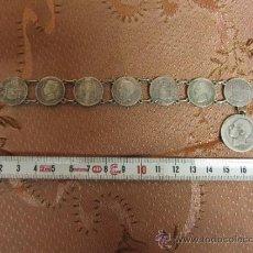 Antigüedades: PULSERA DE PESETAS ALFONSINAS EN PLATA DE LEY / 1880 - 1910. Lote 46138242