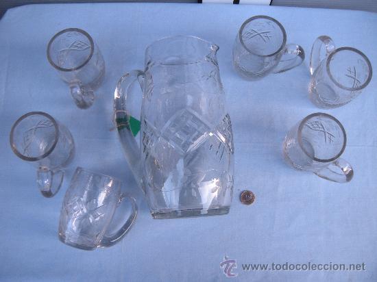 Antigüedades: JARRA GRANDE DE CRISTAL TALLADO CON 6 JARRAS PEQUEÑAS. SANTA LUCÍA, GRANJA ? - Foto 6 - 35981434