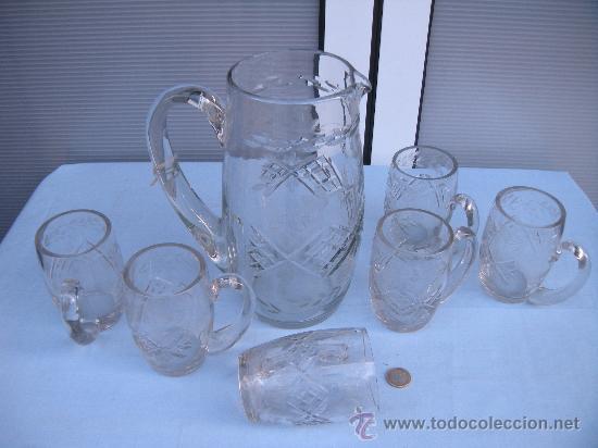 Antigüedades: JARRA GRANDE DE CRISTAL TALLADO CON 6 JARRAS PEQUEÑAS. SANTA LUCÍA, GRANJA ? - Foto 5 - 35981434