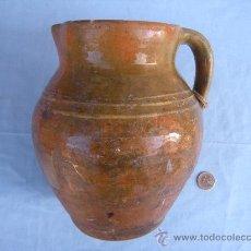 Antigüedades: CERÁMICA POPULAR. ANTIGUA JARRA DE BARRO VIDRIADO.. Lote 35943927